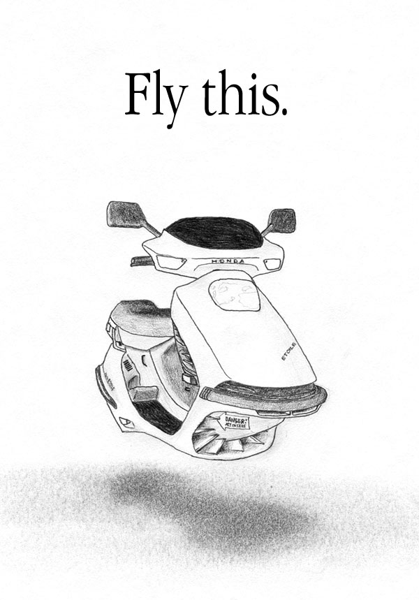 Pencil drawing: The Honda Etoile, a 1987 Honda Elite 150 with some modifications