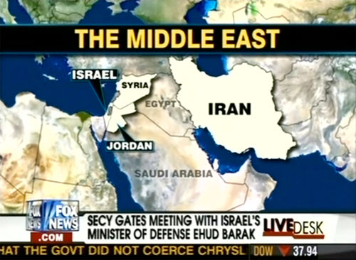 "FOX News map graphic showing Iraq labeled as ""Egypt"""