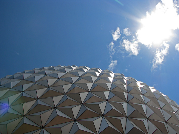 Spaceship Earth with Lens Flare